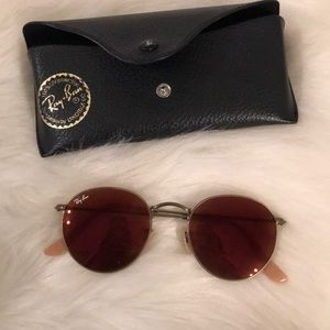 Authentic Ray Bans round red Lens with case